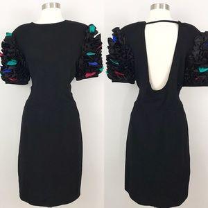 St John vintage 10 Santana Knit Dress Ruffle Black